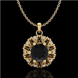 1.20 CTW Fancy Black Diamond Art Deco Micro Pave Stud Necklace 18K Yellow Gold - REF-82F7N - 37739