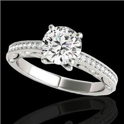 1.25 CTW H-SI/I Certified Diamond Solitaire Antique Ring 10K White Gold - REF-158M2F - 34738