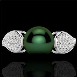 0.27 CTW Micro Pave VS/SI Diamond Certified & Peacock Pearl Ring 18K White Gold - REF-45V3Y - 22642