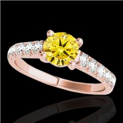 2.1 CTW Certified SI/I Fancy Intense Yellow Diamond Solitaire Ring 10K Rose Gold - REF-309Y3X - 3550