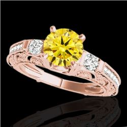 1.38 CTW Certified SI Intense Yellow Diamond Solitaire Antique Ring 10K Rose Gold - REF-174X5R - 346