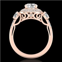 2.05 CTW VS/SI Diamond Solitaire Art Deco 3 Stone Ring 18K Rose Gold - REF-490N9A - 37263