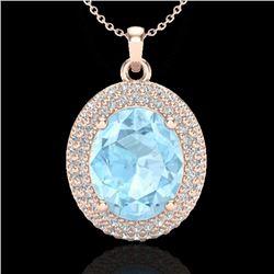 4 CTW Aquamarine & Micro Pave VS/SI Diamond Certified Necklace 14K Rose Gold - REF-121H3M - 20553