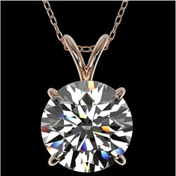 2.53 CTW Certified H-SI/I Quality Diamond Solitaire Necklace 10K Rose Gold - REF-870F2N - 36819