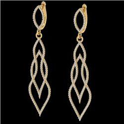 1.90 CTW Micro Pave VS/SI Diamond Certified Earrings 14K Yellow Gold - REF-143F5N - 20095