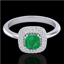 1.16 CTW Emerald & Micro VS/SI Diamond Ring Solitaire Double Halo 18K White Gold - REF-70F9N - 21028