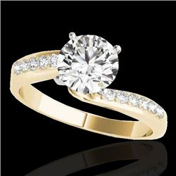 1.40 CTW H-SI/I Certified Diamond Bypass Solitaire Ring 10K Yellow Gold - REF-190N9A - 35074