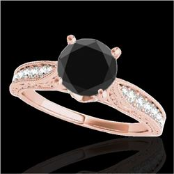 1.21 CTW Certified VS Black Diamond Solitaire Antique Ring 10K Rose Gold - REF-46W9H - 34724