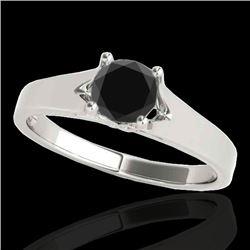 1 CTW Certified VS Black Diamond Solitaire Ring 10K White Gold - REF-45X3R - 35158