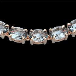 45 CTW Aquamarine Eternity Designer Inspired Tennis Necklace 14K Rose Gold - REF-418A5V - 23399