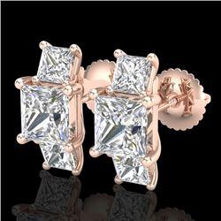 3.08 CTW Princess VS/SI Diamond Art Deco Stud Earrings 18K Rose Gold - REF-630V2Y - 37200