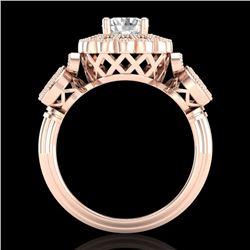 1.50 CTW VS/SI Diamond Solitaire Art Deco 3 Stone Ring 18K Rose Gold - REF-300V2Y - 37059