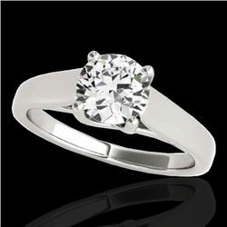 1.50 CTW H-SI/I Certified Diamond Solitaire Ring 10K White Gold - REF-332W4H - 35534