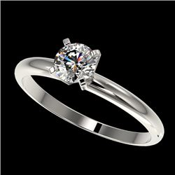 0.52 CTW Certified H-SI/I Quality Diamond Solitaire Engagement Ring 10K White Gold - REF-65X5R - 363