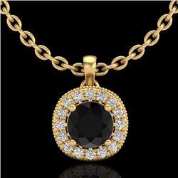 1.10 CTW Fancy Black Diamond Solitaire Art Deco Stud Necklace 18K Yellow Gold - REF-79R3K - 37998