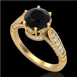 2.2 CTW Fancy Black Diamond Solitaire Engagement Art Deco Ring 18K Yellow Gold - REF-141K8W - 38089