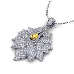 3 CTW Yellow Sapphire & Micro Pave VS/SI Diamond Necklace 14K Rose Gold - REF-227R3K - 22571