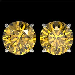 4 CTW Certified Intense Yellow SI Diamond Solitaire Stud Earrings 10K White Gold - REF-930A2V - 3313