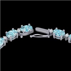 34 CTW Sky Blue Topaz & VS/SI Diamond Certified Tennis Necklace 10K White Gold - REF-149H8M - 21587