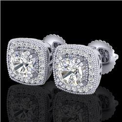 1.25 CTW Cushion Cut VS/SI Diamond Art Deco Stud Earrings 18K White Gold - REF-218V2Y - 37034