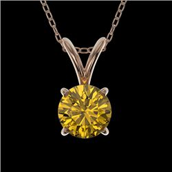 0.56 CTW Certified Intense Yellow SI Diamond Solitaire Necklace 10K Rose Gold - REF-70K5W - 36735