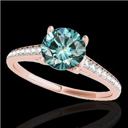 1.50 CTW SI Certified Fancy Blue Diamond Solitaire Ring 10K Rose Gold - REF-167K8W - 34850