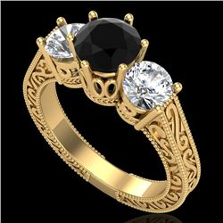 2.01 CTW Fancy Black Diamond Solitaire Art Deco 3 Stone Ring 18K Yellow Gold - REF-241R8K - 37578