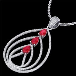 2 CTW Ruby & Micro Pave VS/SI Diamond Certified Designer Necklace 18K White Gold - REF-133Y3X - 2246