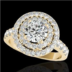 3 CTW H-SI/I Certified Diamond Solitaire Halo Ring 10K Yellow Gold - REF-428R9K - 34222