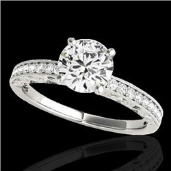 1.43 CTW H-SI/I Certified Diamond Solitaire Antique Ring 10K White Gold - REF-180W2H - 34612