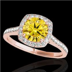 1.65 CTW Certified SI/I Fancy Intense Yellow Diamond Solitaire Halo Ring 10K Rose Gold - REF-276R4K
