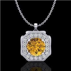 1.54 CTW Intense Fancy Yellow Diamond Art Deco Stud Necklace 18K White Gold - REF-290R9K - 38295