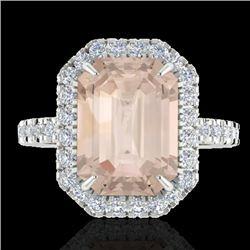 4.50 CTW Morganite & Micro Pave VS/SI Diamond Halo Ring 18K White Gold - REF-112V4Y - 21431