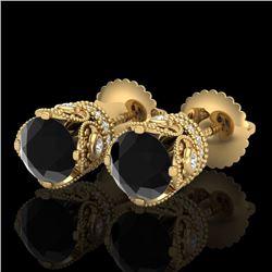 1.85 CTW Fancy Black Diamond Solitaire Art Deco Stud Earrings 18K Yellow Gold - REF-109V3Y - 37410
