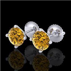 2 CTW Intense Fancy Yellow Diamond Art Deco Stud Earrings 18K White Gold - REF-272H7M - 38246