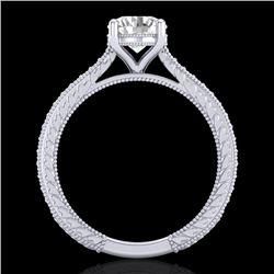 1.45 CTW VS/SI Diamond Art Deco Ring 18K White Gold - REF-400A2V - 37004
