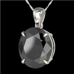 9 CTW Black VS/SI Diamond Certified Designer Solitaire Necklace 18K White Gold - REF-200M5F - 21895