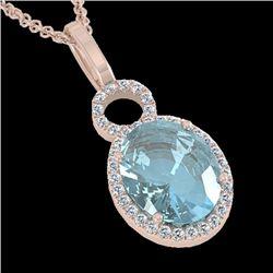 4 CTW Sky Blue Topaz & Micro Halo VS/SI Diamond Necklace 14K Rose Gold - REF-53R6K - 22773