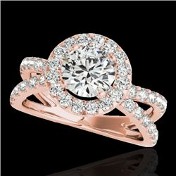 2.01 CTW H-SI/I Certified Diamond Solitaire Halo Ring 10K Rose Gold - REF-209M3F - 34026