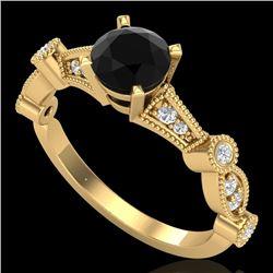 1.03 CTW Fancy Black Diamond Solitaire Engagement Art Deco Ring 18K Yellow Gold - REF-80R2K - 37676