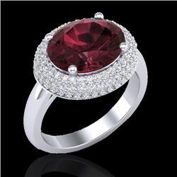 4.50 CTW Garnet & Micro Pave VS/SI Diamond Certified Ring 18K White Gold - REF-98X4R - 20916