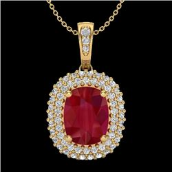 3.15 CTW Ruby & Micro Pave VS/SI Diamond Certified Halo Necklace 18K Yellow Gold - REF-90A9V - 20418