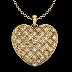 1.0 Designer CTW Micro Pave VS/SI Diamond Heart Necklace 14K Yellow Gold - REF-87M3F - 20491