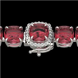 40 CTW Pink Tourmaline & Micro VS/SI Diamond Halo Bracelet 14K White Gold - REF-476X5R - 23319