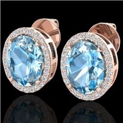 5.50 CTW Sky Blue Topaz & Micro VS/SI Diamond Halo Earrings 14K Rose Gold - REF-58M4F - 20242