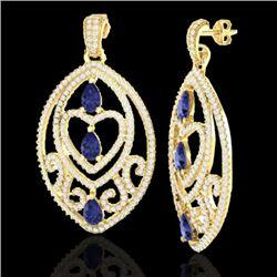 7 CTW Tanzanite & Micro Pave VS/SI Diamond Heart Earrings 18K Yellow Gold - REF-381R8K - 21164