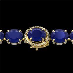 76 CTW Sapphire & Micro Pave VS/SI Diamond Halo Bracelet 14K Yellow Gold - REF-317Y3X - 22278