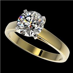 2.05 CTW Certified H-SI/I Quality Diamond Solitaire Engagement Ring 10K Yellow Gold - REF-477R3K - 3