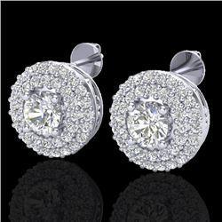 1.20 CTW Micro Pave VS/SI Diamond Earrings 18K White Gold - REF-118R2K - 20197