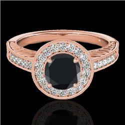 1.50 CTW Certified VS Black Diamond Solitaire Halo Ring 10K Rose Gold - REF-75R3K - 33746
